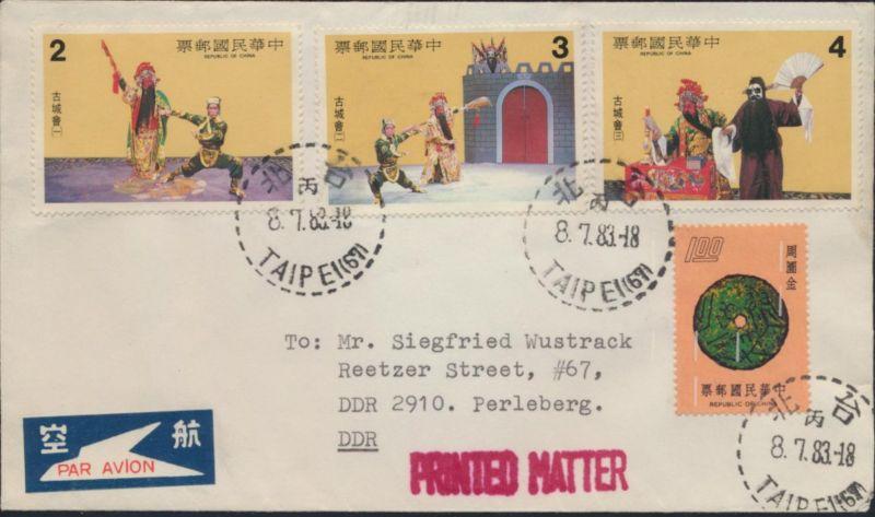 Taiwan Brief Drucksache Luftpost MIF 1079+1457-1459 Taipeh nach Perleberg