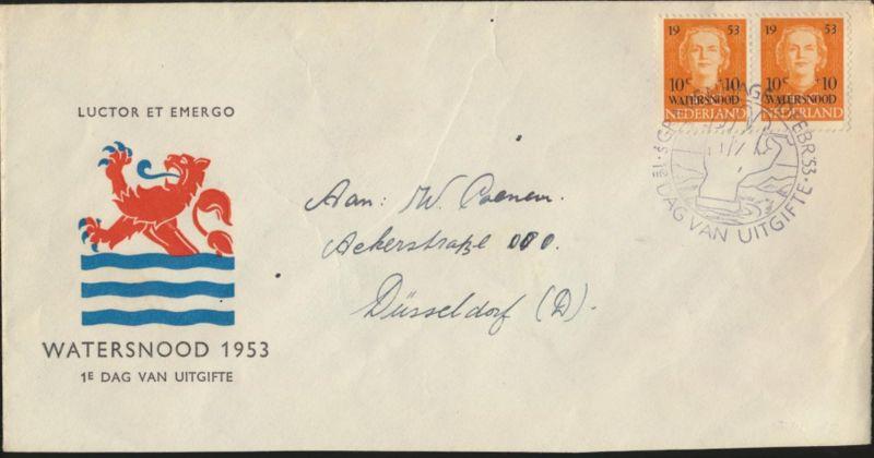 Niederlande Brief 606 Hilfe Opfer Überschwemmung Paar FDC echt gel. n Düsseldorf 0