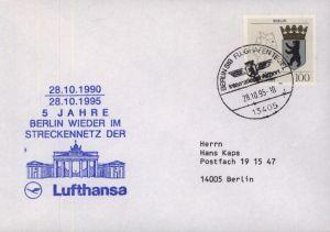 Bund Brief Flugpost Lufthansa StreckennetzMotiv Berlin Brandenburger SST