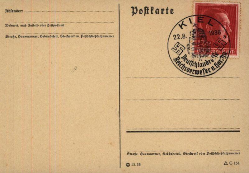 D. Reich EF 664 auf Blanko-Karte SST Kiel Deutschlandreise Reichsverweser Horthy 0