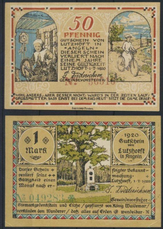 Geldschein Banknote Notgeld Lutzhöft Schleswig 0,50 - 1 Mark Motiv Fahrrad