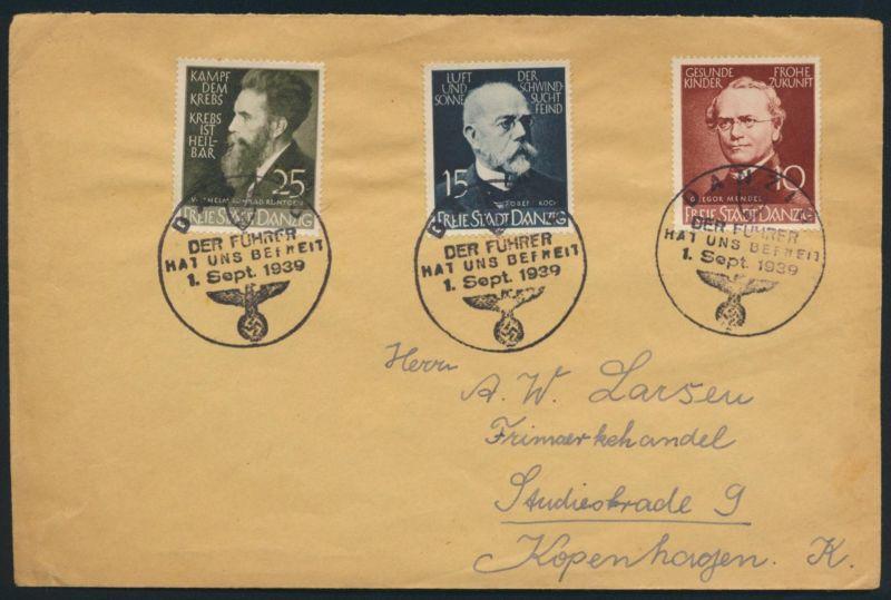 Danzig 306-8 Ärzte Naturforscher drei Propagandastempel n. Kopenhagen Dänemark