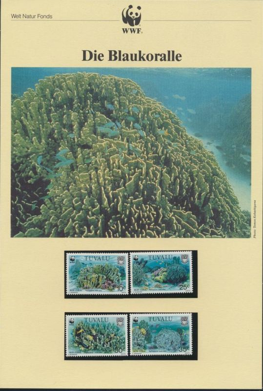 WWF Vanuatu 638-641 Tiere Die Blaukoralle  kpl. Kapitel bestehend