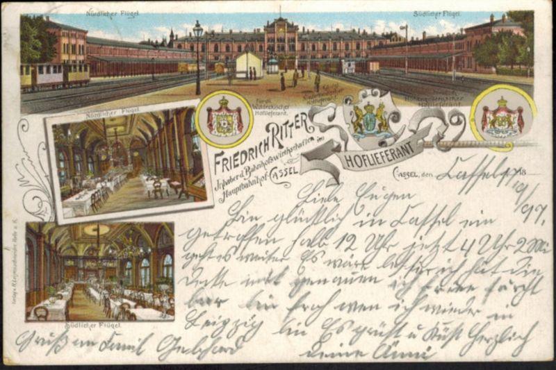 Ansichtskarte Kassel Bahnhofswirtschaft Fr. Ritter Hoflieferant Litho  n. Köln