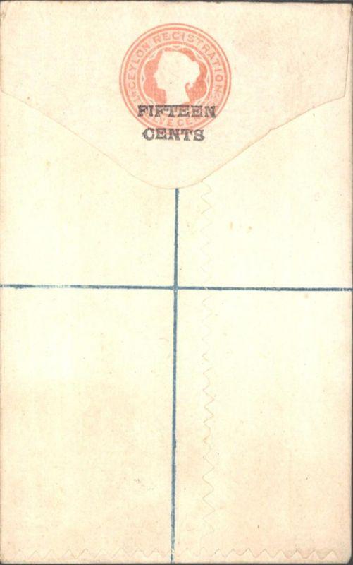 Ceylon Ganzsache Einschreibeumschlag EU 2 a 15 auf 12 c. Victoria  Sri Lanka