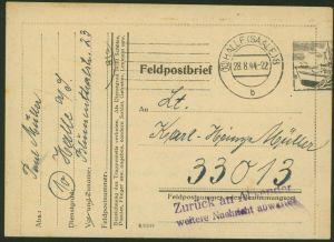Deutsches Reich II. WK Feldpostbrief Halle mit L2 Zurück an Absender weitere...