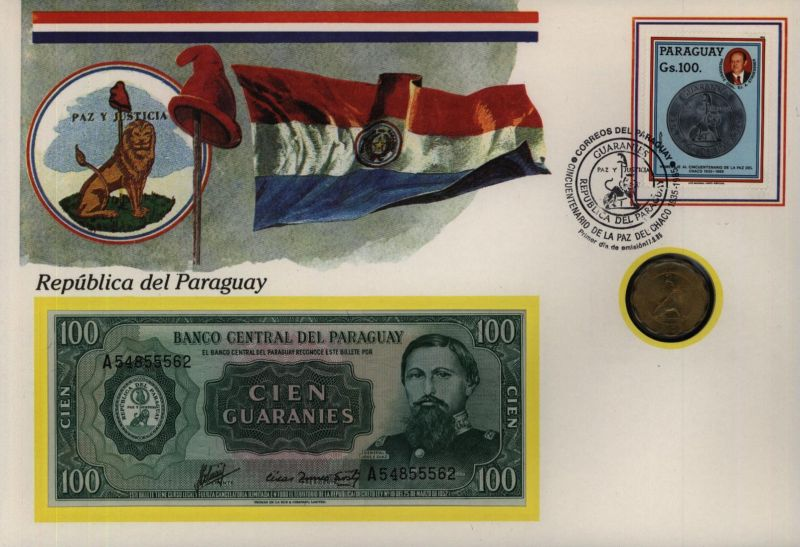 Geldschein Banknote Banknotenbrief Paraguay Schein+ Briefmarkenausgabe Münze