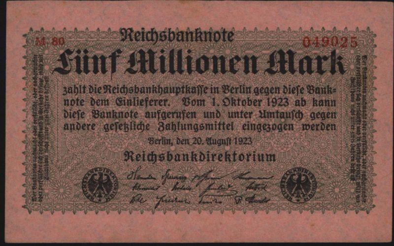 Dt. Reich Geldschein Reichsbanknote Infla 5 Mio. 104 Propganda-Aufdruck der Jude