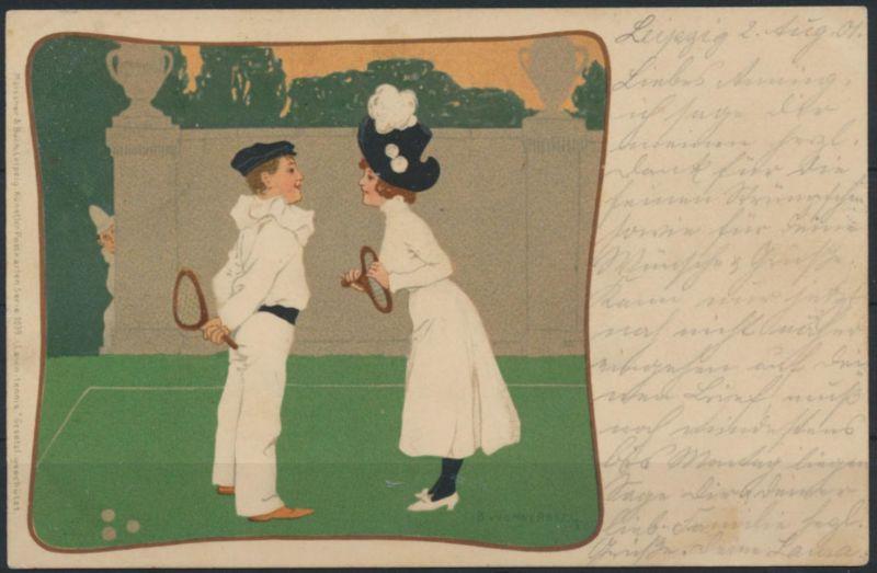 Ansichtskarte Jugendstil Künstlerkarte sign. B. Wennerberg Tennis Leipzig -