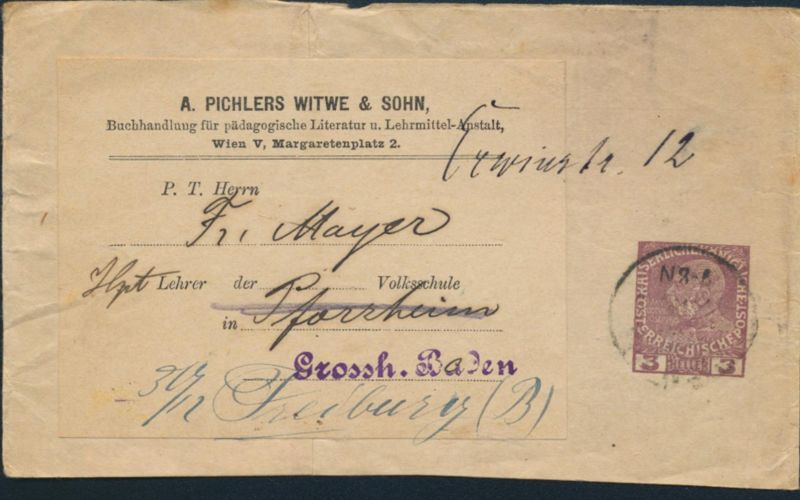 Österreich Privatganzsache Streifband 3h Wien Pforzheim A.Pichlers Witwe &Sohn