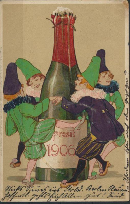 Ansichtskarte Jugendstil Künstler handcoloriert Neujahr Meissner & Buch Reklame