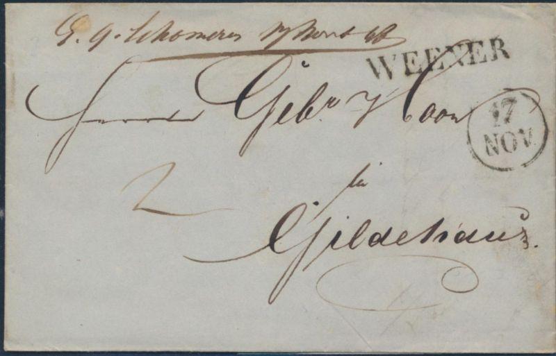 Altdeutschland Hannover Vorphila Brief Weener nach Gildehaus 17.11.1848