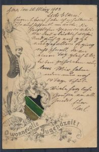 Ansichtskarte Studentika Gera O wonnevolle Jugendzeit 1903 nach Zeulenroda