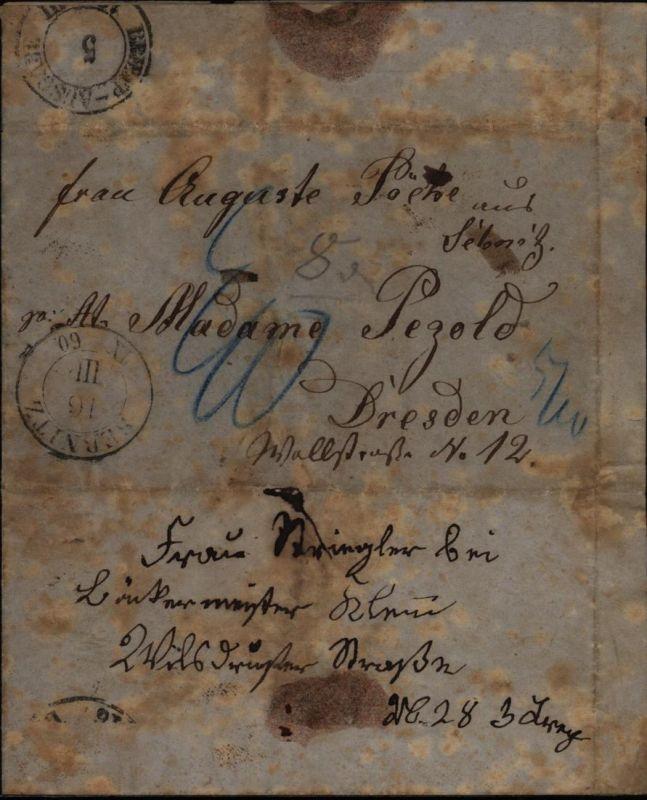 Altdeutschland Sachsen Brief Sebnitz markenlos 1860  nachtaxiert nach Dresden