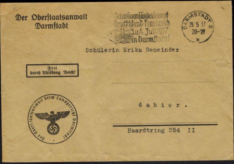 DR Brief Wassersport SST Darmstadt Schwimmländerkampf Deutschland-Frankreich