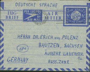 Südafrika Ganzsache Aerogramm Kapstadt Bautzen Russ. Zone 1948