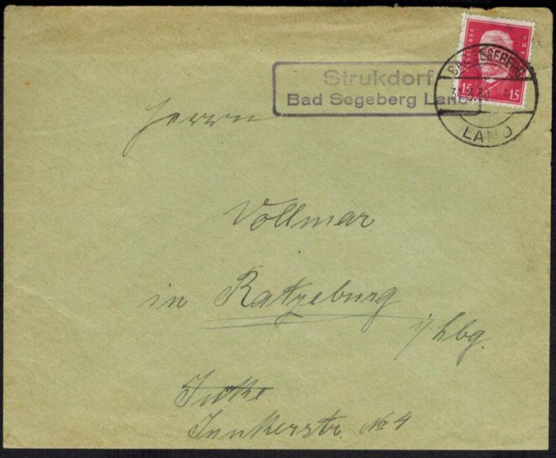 Brief Deutsches Reich Landpoststempel Strukdorf Ratzeburg Segeberg Schleswig
