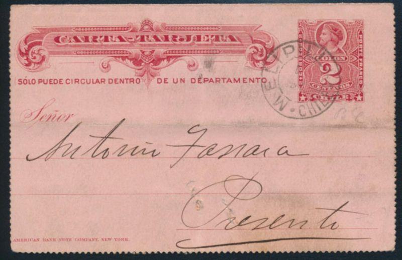 Chile Ganzsache Kartenbrief KB 2 2c karmin ab Melipilla
