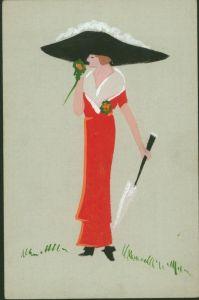Ansichtskarte schöne handgemalte Art-Deco Künstlerkarte Abb. modische Dame Frau