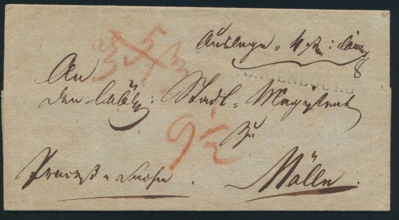 Altdeutschland Scheswig Vorphila Brief mit L1 Lauenbourg nach Mölln um 1814