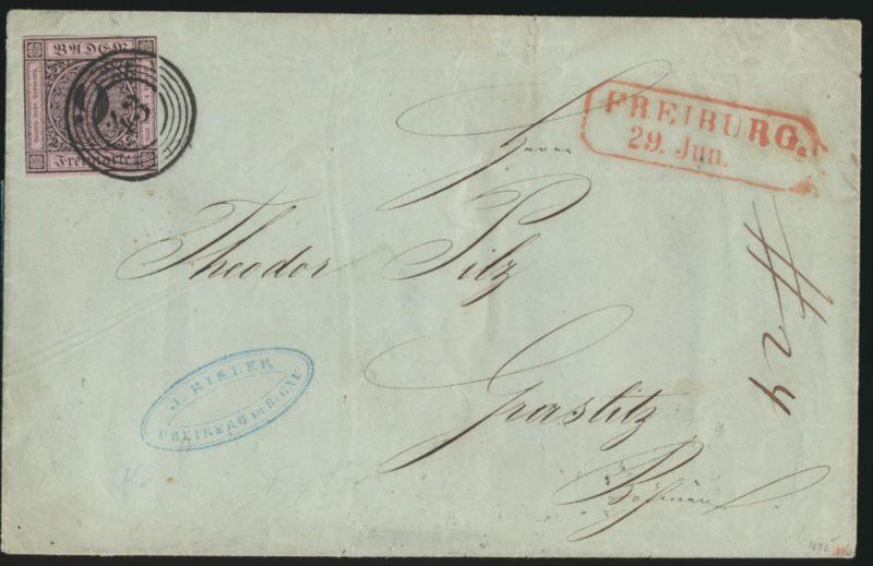 Baden Bahnpost Brief EF 4 a Nr. 54 +roter R2 Freiburg doppelt gepr Engleri 600,-