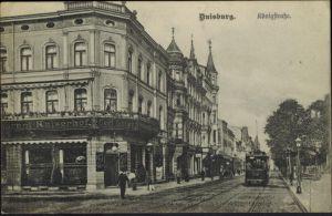 Ansichtskarte Duisburg Königstraße Ruhrgebiet Straßenbahn 1907 NRW