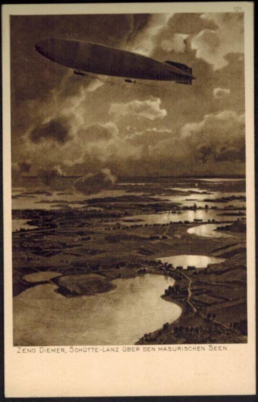 Ansichtskarte Zeppelin I. WK Künstler Zeno Diemer ü. den Masurischen Seen Polen