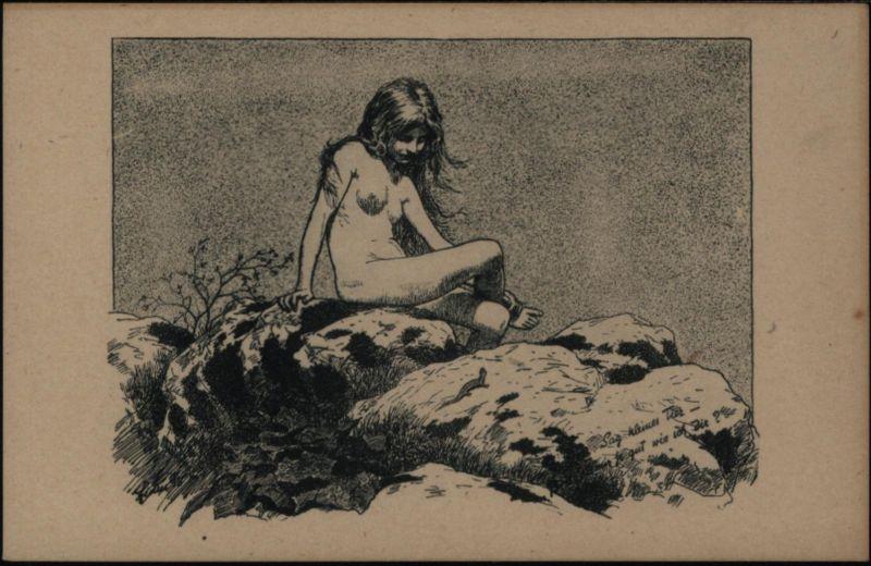 Ansichtskarte tolle Künstler - Karte Fidus Sag kleines Tier Eidechse Erotik