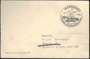 Deutsches Reich Postsache Wassersport SST Hannover 28. Dt. Meisterschaftsrudern