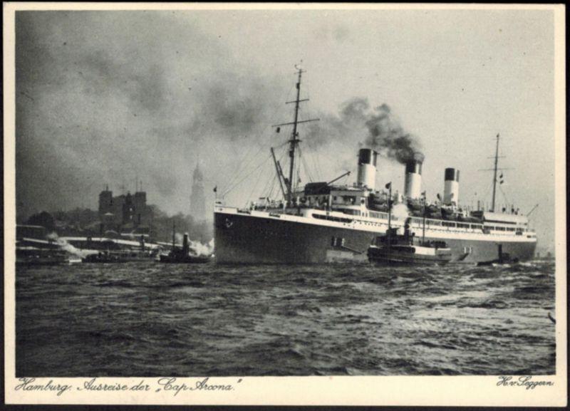 Ansichtskarte Schiff Hamburg Ausreise Cap Arcona