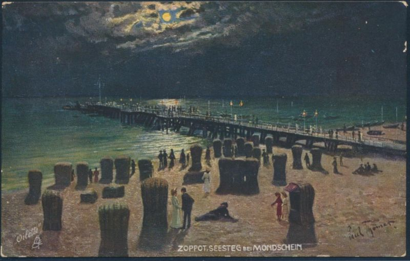 Ansichtskarte Künstler Paul Thomas Sopot Zoppot Seesteg bei Mondschein