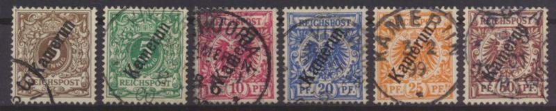 Kolonien Kamerun 1-6 Aufdruck Krone Adler gest. 5+6 geprüft Bothe Steuer 120,00