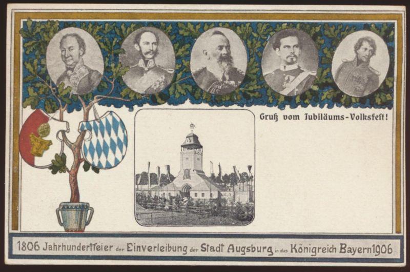 Bayern Privatganzsache Augsburg Feier Königreich Bayern 1906 PP 20 C2 02