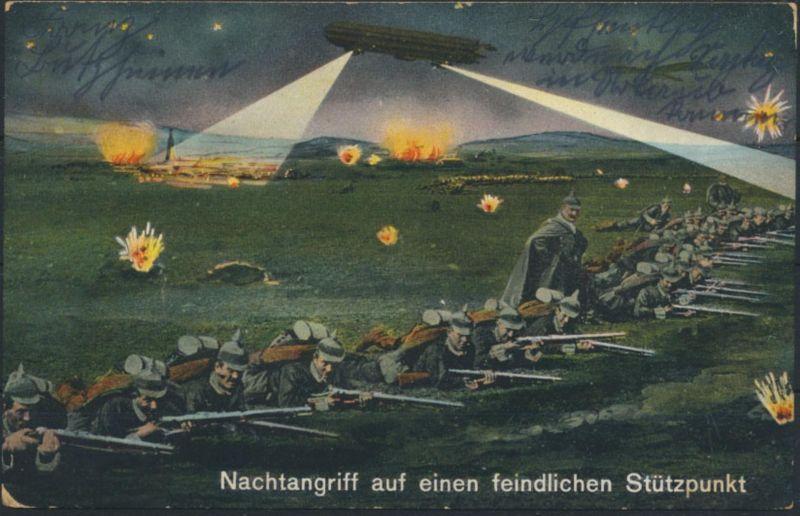 Ansichtskarte Zeppelin Soldaten Krieg Militär Nachtangriff Feldpost Eschweiler