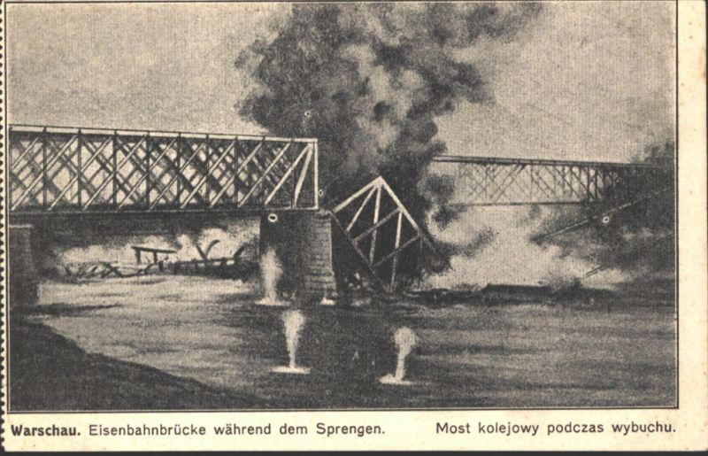 Ansichtskarte Warschau Polen Katastrophe Eisenbahn Brücke