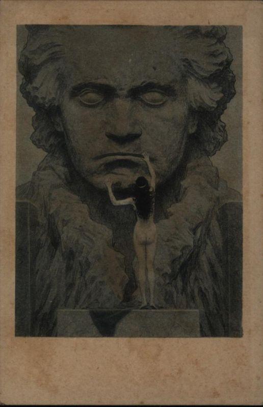 Ansichtskarte Künstler Fidus Beethoven Erotik selten vs. leider braune Flecken