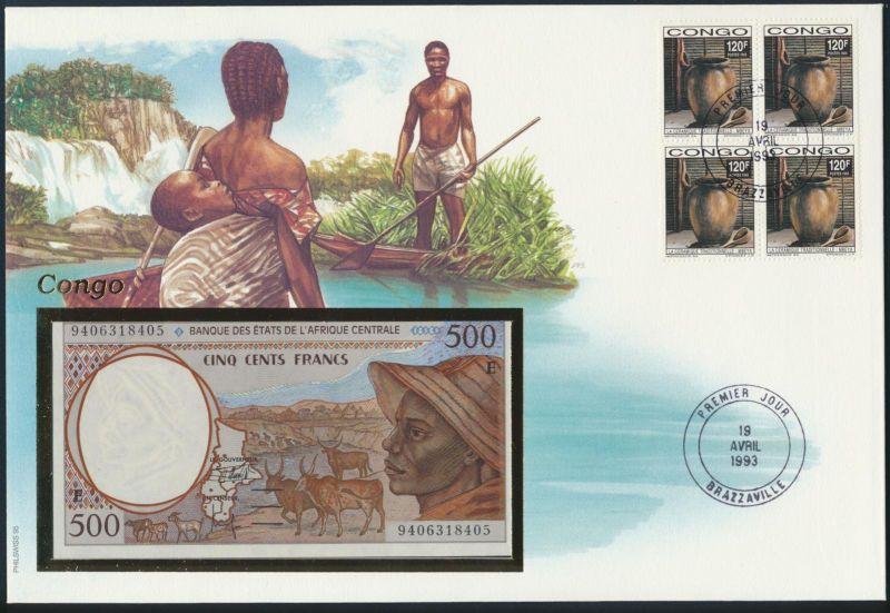 Geldschein Banknote Banknotenbrief Kongo Afrika 1993 schön und exotisches Motiv