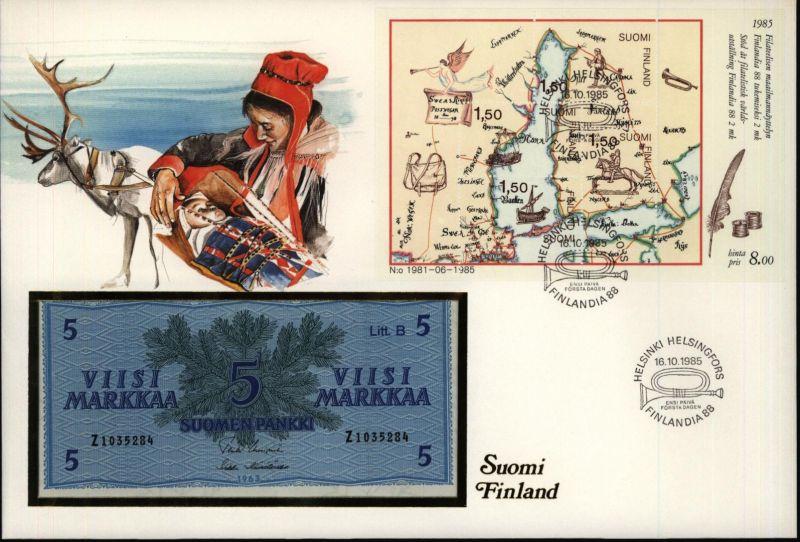 Geldschein Banknote Banknotenbrief Finnland Schein und Briefmarkenausgabe