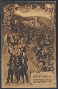 Ansichtskarte Studentika Heidelberg Schloß 1911 nach Hamburg