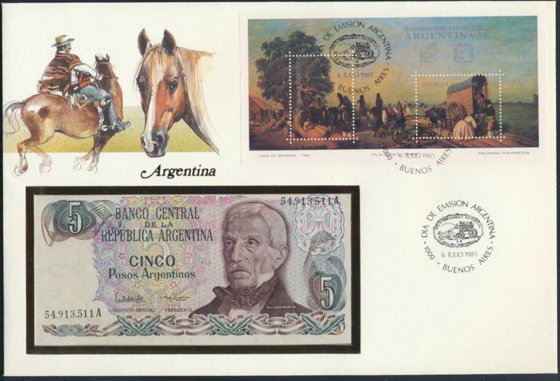 Geldschein Banknote Banknotenbrief Argentinien 1985 schön und exotisches Motiv