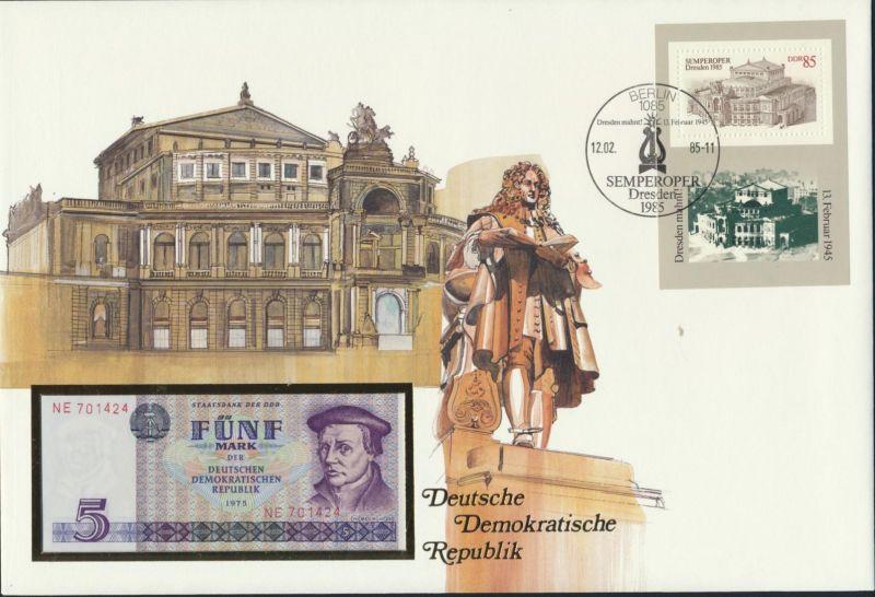 Geldschein Banknote Banknotenbrief DDR GDR 5 Mark SST 1985 P27