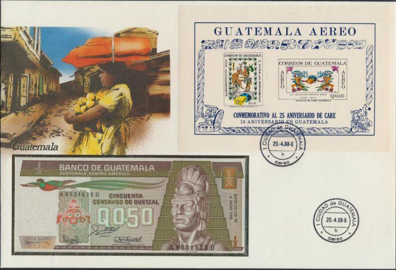 Geldschein Banknote Banknotenbrief Guatemala 0,5 Quetzal sehr exotisches Motiv