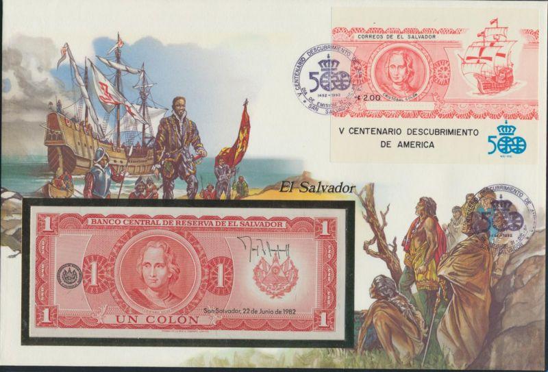 Banknotenbrief El Salvador Schein + Briefmarkenausgabe 1 Colon P133A