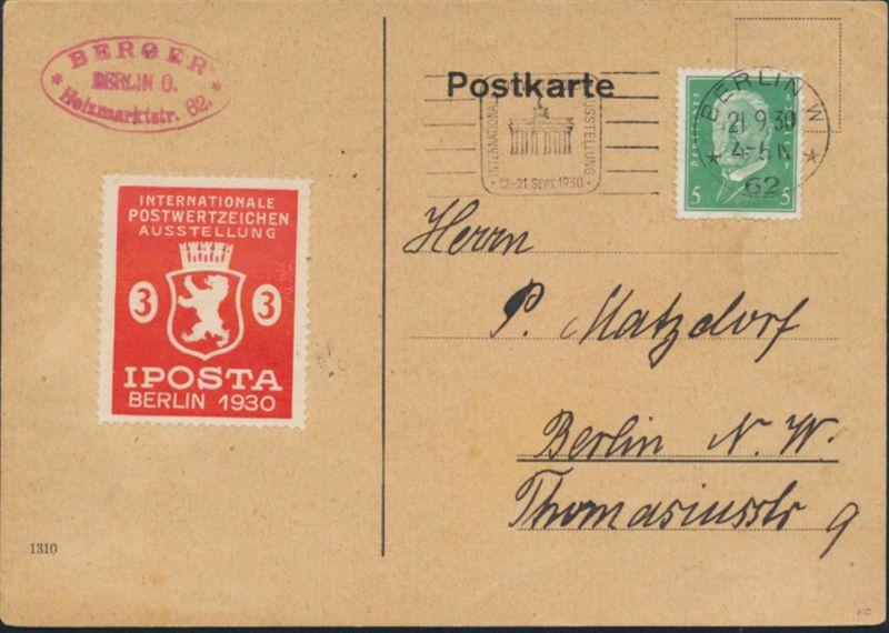 Deutsches Reich Postkarte 411+Vignette IPOSTA Berlin + Motiv Brandenburger Tor