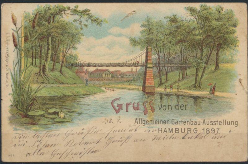 Ansichtskarte Litho Hamburg Gartenbau - Ausstellung 1897 Brücke