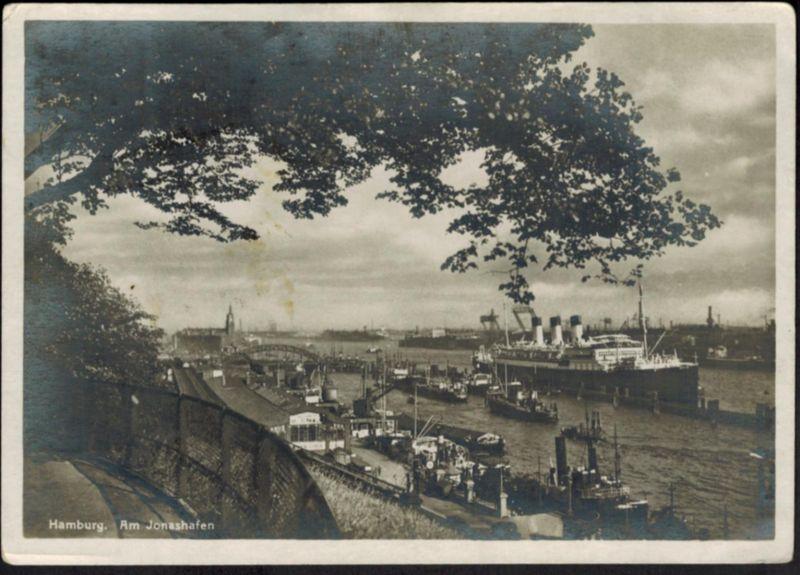 Ansichtskarte Schiff Hamburg Am Jonashafen gelaufen 1931