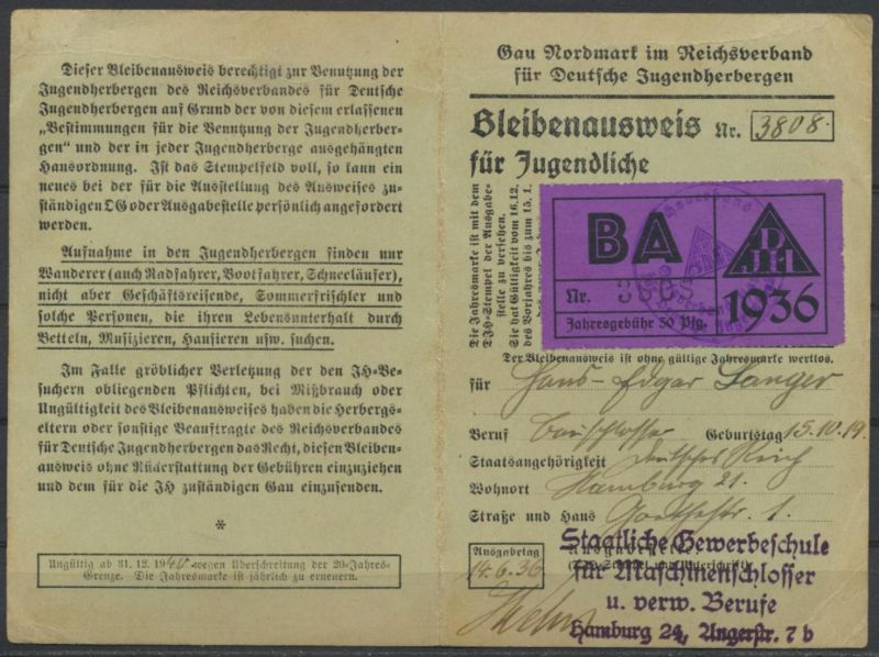 Jugendherberge Bleibenausweis Gau Nordmark Staatliche Gewerbeschule Hamburg 1936