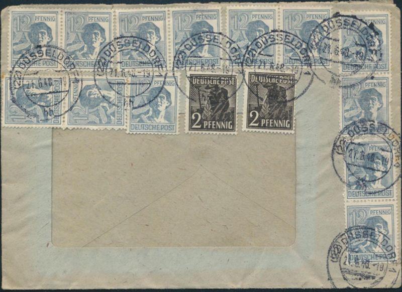 Alliierte Besetzung Brief Zehnfachfrankatur MIF 943a+947 Düsseldorf