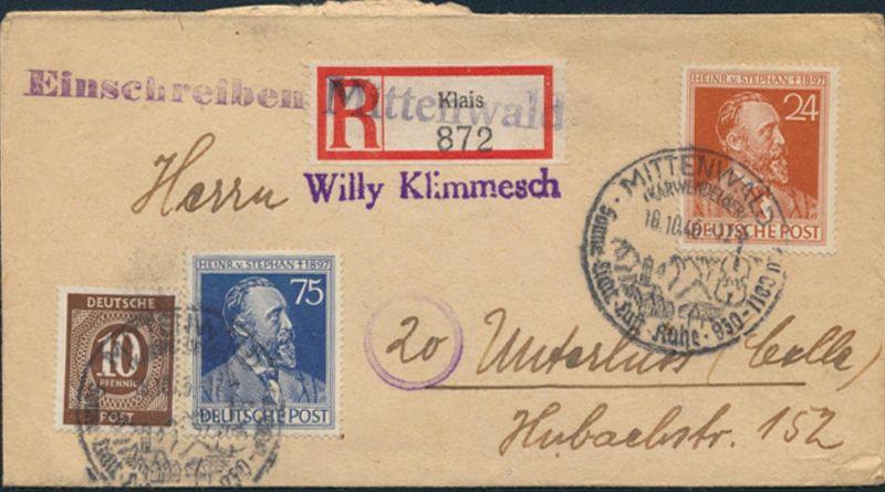 Besetzung Brief Not-R-Zettel Klais MIF 918a+963a+964a SST Mittenwald Unterlüss