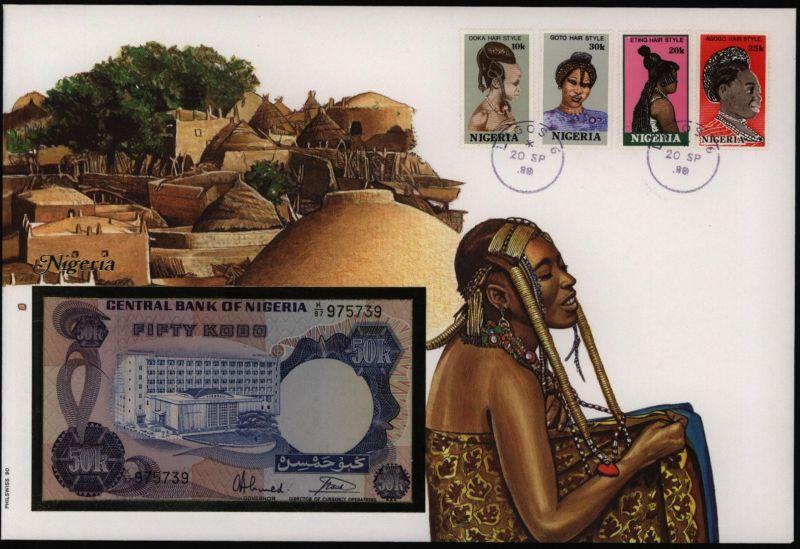 Geldschein Banknote Banknotenbrief Afika Nigeria Schein+ Briefmarkenausgabe sehr